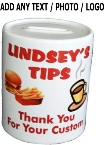 Personalised Cafe Tip Novelty Ceramic Money Box